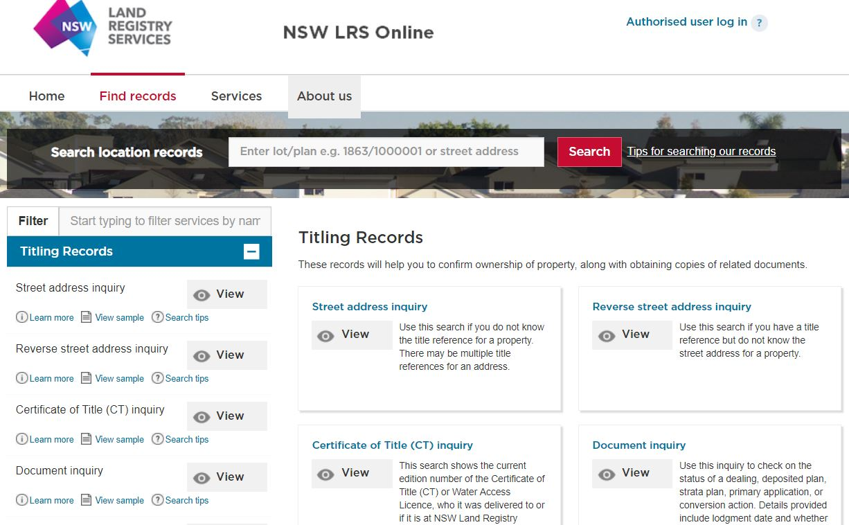 NSW LRS Online page