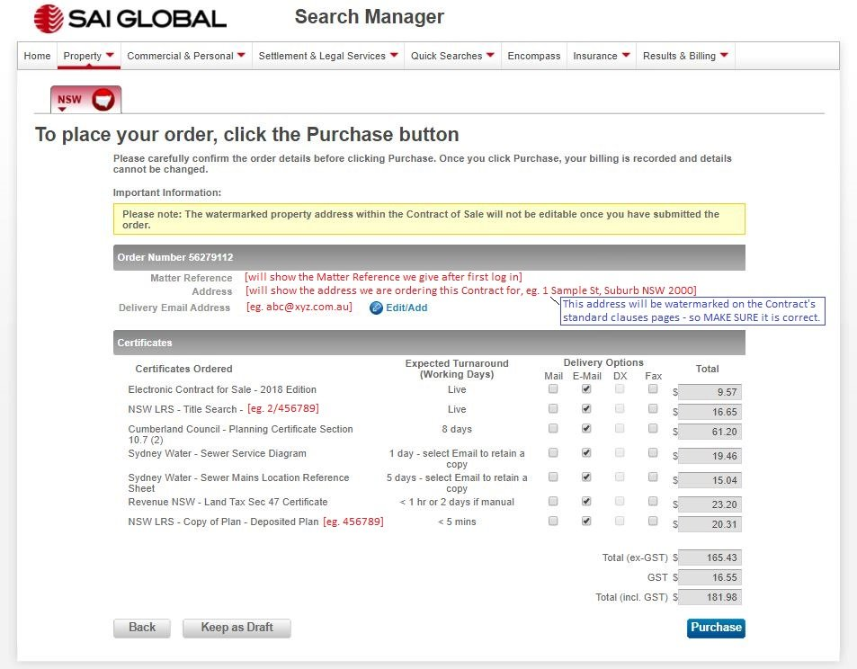 SAI - Confirm Purchase Page