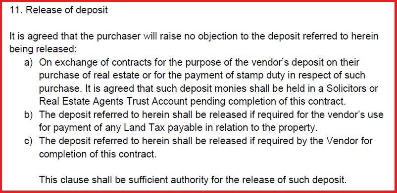 Release of Deposit