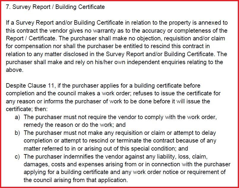 Survey Report or Building Certificate
