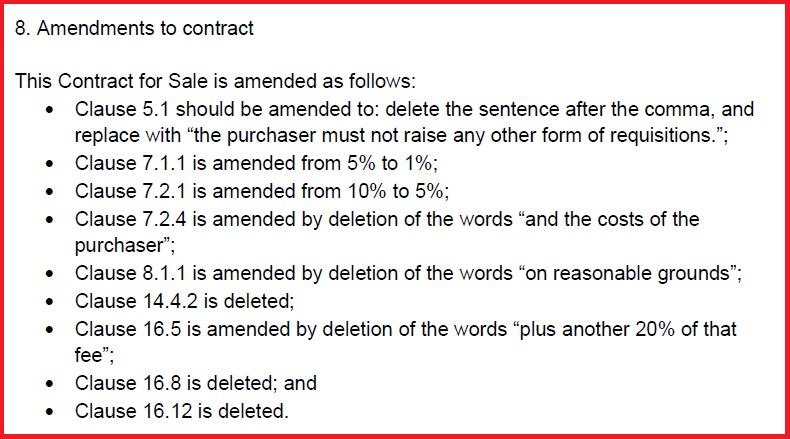 Amendments to Contract